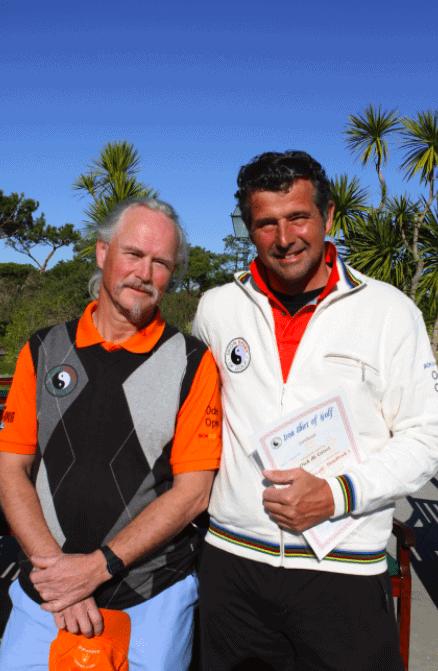 Dick de Groot en Reinoud Eleveld in februari 2012, na afloop van de eerste intensieve tweeweekse 'Iron Shirt of Golf'-opleiding voor PGA professionals.